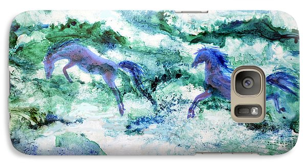 Galaxy Case featuring the painting Sea Horses by Joan Hartenstein