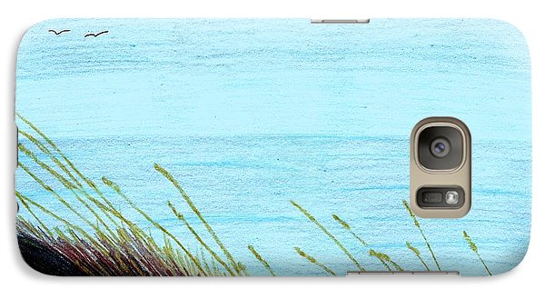 Galaxy Case featuring the drawing Sea Oats In The Wind Drawing by D Hackett