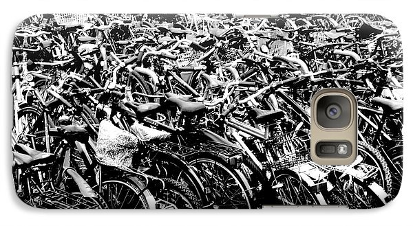Galaxy Case featuring the photograph Sea Of Bicycles 3 by Joey Agbayani
