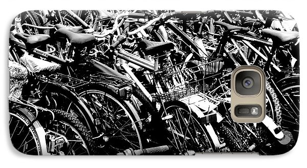 Galaxy Case featuring the photograph Sea Of Bicycles 2 by Joey Agbayani