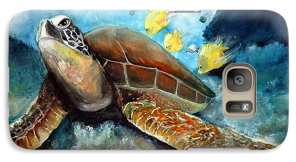Galaxy Case featuring the painting Sea Turtle I by Bernadette Krupa
