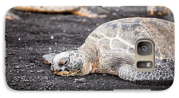 Galaxy Case featuring the photograph Sea Turtle On Black Sand by Ed Cilley