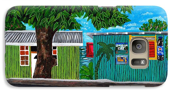 Galaxy Case featuring the painting Sea-view Cafe by Laura Forde