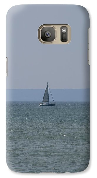 Galaxy Case featuring the photograph Sea Yacht  Land Sky by Phoenix De Vries
