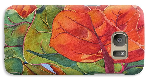 Galaxy Case featuring the painting Seagrape Leaves by Judy Mercer