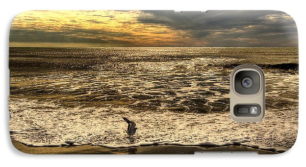 Galaxy Case featuring the photograph Seagull Sunset Bath by Julis Simo