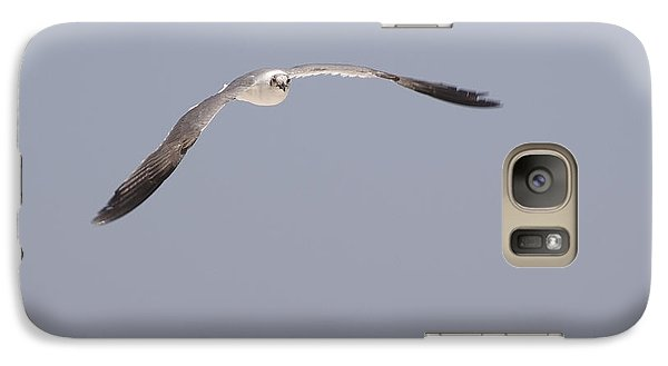 Galaxy Case featuring the photograph Seagull In Flight Against A Blue Sky by Charles Beeler