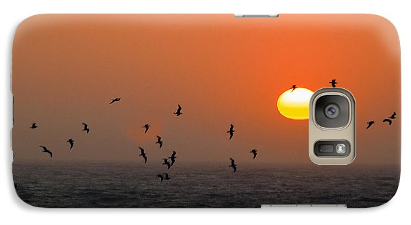Galaxy Case featuring the photograph Seagull On Sunset by William Havle