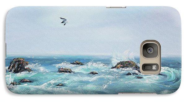 Galaxy Case featuring the painting Seagull Over The Ocean by Asha Carolyn Young