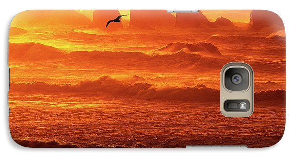 Galaxy Case featuring the photograph Seagull Soaring Over The Surf At Sunset Oregon Coast by Dave Welling