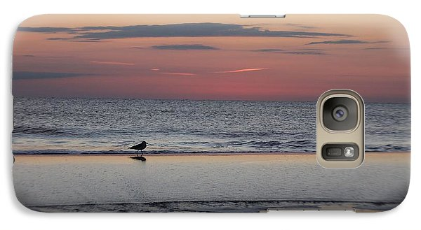Galaxy Case featuring the photograph Seagull Strolls The Seashore by Robert Banach