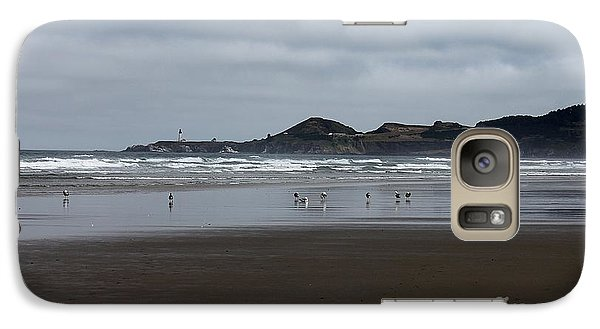Galaxy Case featuring the photograph Seagulls And Lighthouse by Erica Hanel