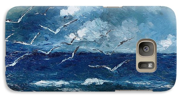 Galaxy Case featuring the painting Seagulls Over Adriatic Sea by AmaS Art