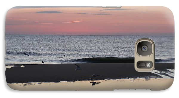 Galaxy Case featuring the photograph Seagulls Sea And Sunrise by Robert Banach