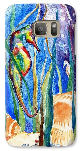 Seahorse Galaxy S7 Case - Seahorse And Shells by Carlin Blahnik CarlinArtWatercolor