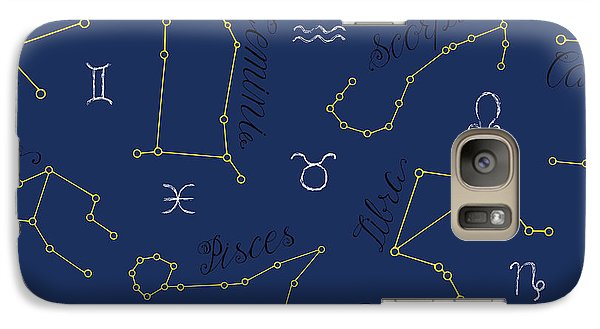Magician Galaxy S7 Case - Seamless Background With Zodiac by Vera Petruk