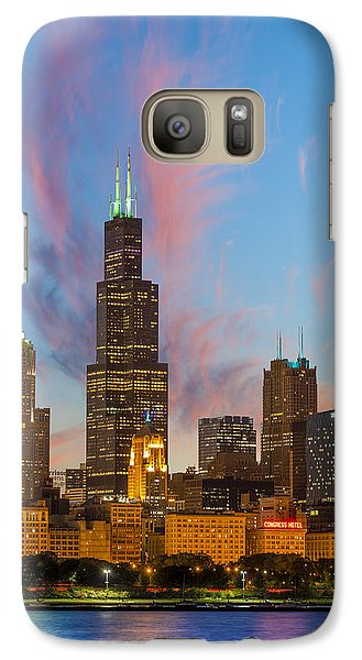 Galaxy Case featuring the photograph Sears Tower Sunset by Sebastian Musial
