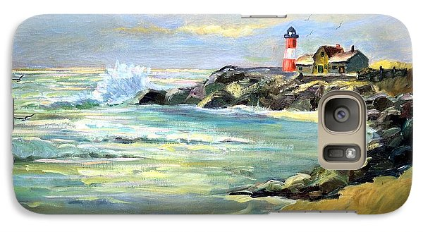Galaxy Case featuring the painting Seascape Lighthouse By Mary Krupa by Bernadette Krupa