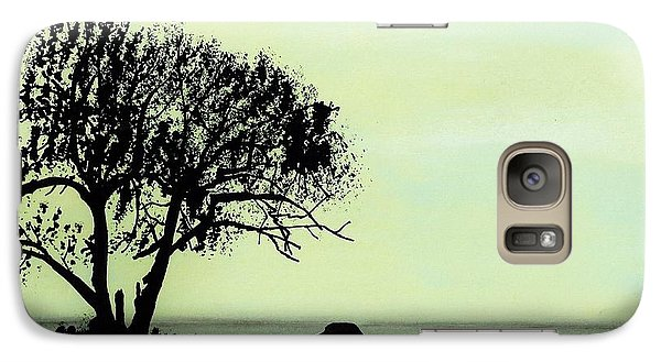 Galaxy Case featuring the drawing Seashore Silhouette by D Hackett