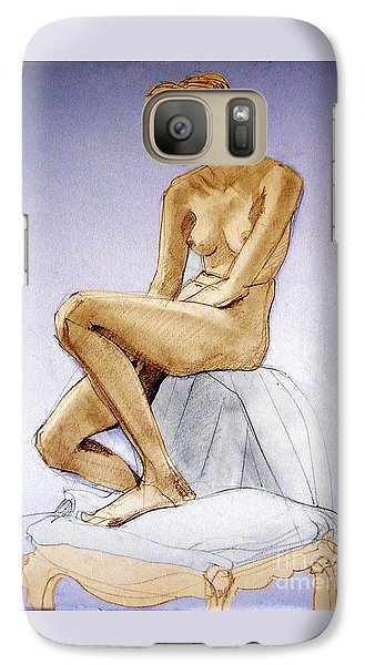Galaxy Case featuring the drawing Seated Female Nude Dreaming by Greta Corens