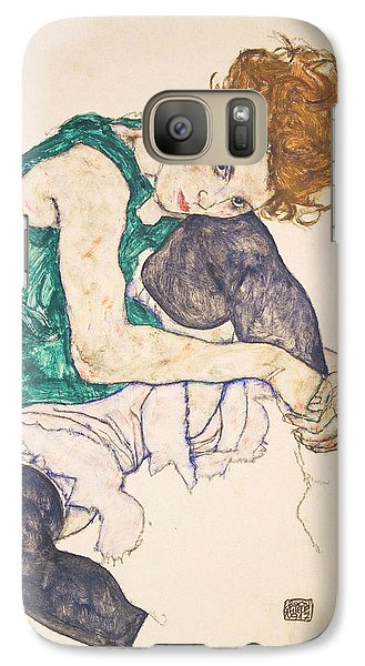 Seated Woman With Legs Drawn Up. Adele Herms Galaxy Case by Egon Schiele