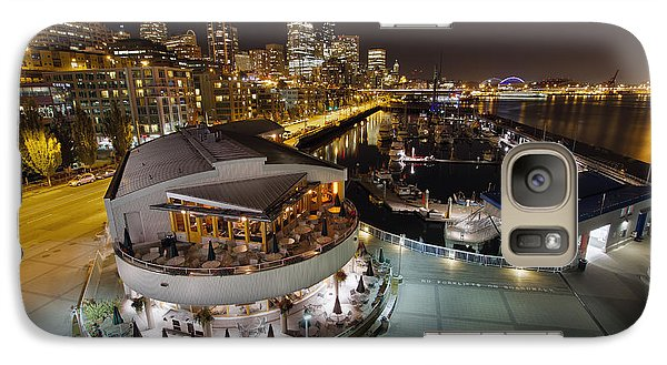 Galaxy Case featuring the photograph Seattle City Skyline And Marina At Night by JPLDesigns