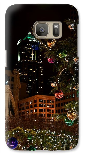 Galaxy Case featuring the photograph Seattle Downtown Christmas Time Art Prints by Valerie Garner