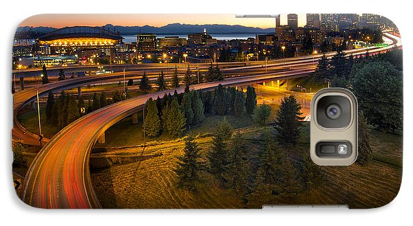 Galaxy Case featuring the photograph Seattle Downtown Highway Traffic Light Trails by JPLDesigns