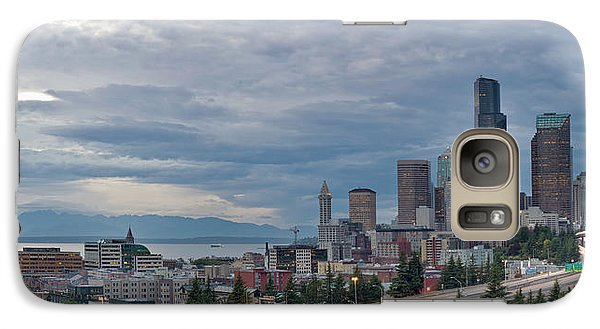 Galaxy Case featuring the photograph Seattle Downtown Skyline And Freeway Panorama by JPLDesigns
