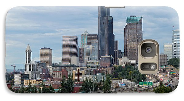 Galaxy Case featuring the photograph Seattle Downtown Skyline On A Cloudy Day by JPLDesigns