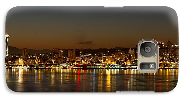 Galaxy Case featuring the photograph Seattle Downtown Skyline Reflection At Dawn by JPLDesigns
