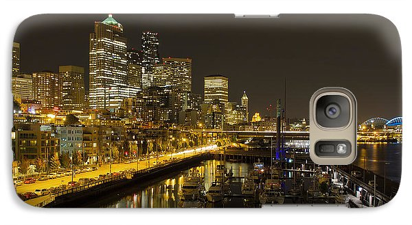 Galaxy Case featuring the photograph Seattle Downtown Waterfront Skyline At Night Reflection by JPLDesigns