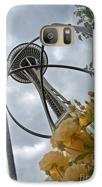 Galaxy Case featuring the photograph Seattle Spaceneedle With Watercolor Effect Yellow Roses by Valerie Garner