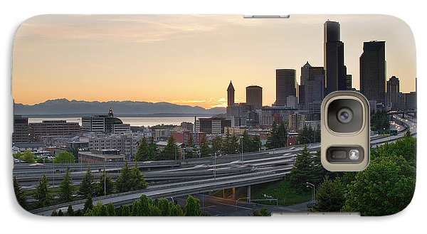 Galaxy Case featuring the photograph Seattle Washington Downtown City Sunset by JPLDesigns