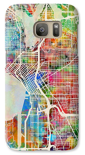 Seattle Washington Street Map Galaxy S7 Case by Michael Tompsett
