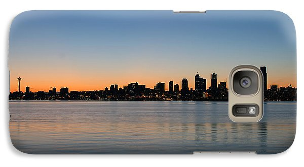 Galaxy Case featuring the photograph Seattle Washington Waterfront Skyline At Sunrise Panorama by JPLDesigns