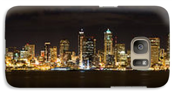 Galaxy Case featuring the photograph Seattle Waterfront At Night Panoramic by Chris McKenna