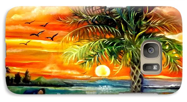 Galaxy Case featuring the painting Seawaves Sunset In Tampa by Yolanda Rodriguez
