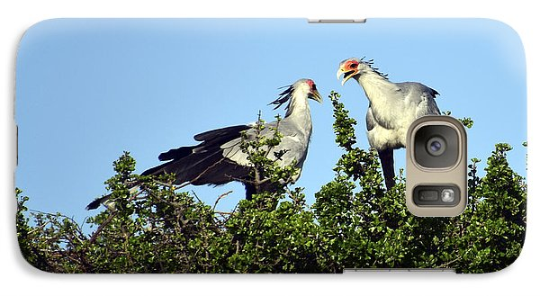 Galaxy Case featuring the painting Secretary Birds Discuss Their Nest Building by AnneKarin Glass
