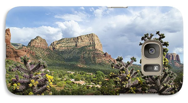 Galaxy Case featuring the photograph Sedona Cactus In Bloom by Maria Janicki
