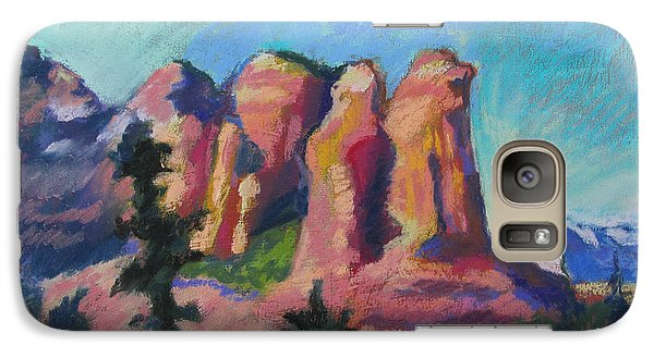 Galaxy Case featuring the painting Sedona Peaks by Linda Novick