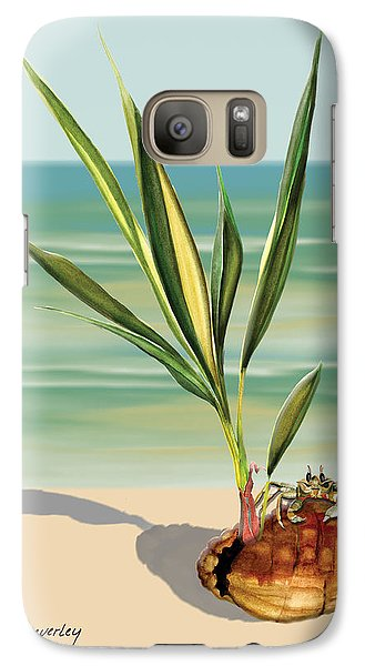 Galaxy Case featuring the painting Seedling Floating Ashore by Anne Beverley-Stamps