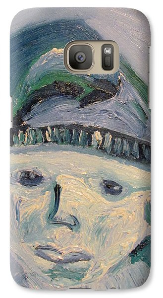 Galaxy Case featuring the painting Self Portrait In Blue And Green by Shea Holliman