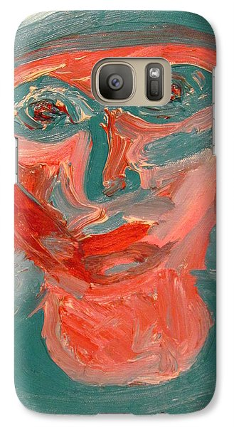 Galaxy Case featuring the painting Self Portrait In Turquoise And Rose by Shea Holliman