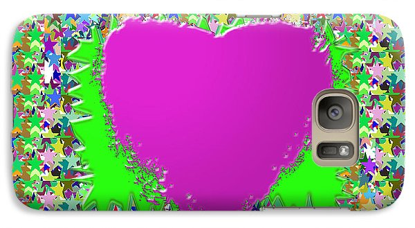Galaxy Case featuring the photograph Sensual Pink Heart N Star Studded Background by Navin Joshi