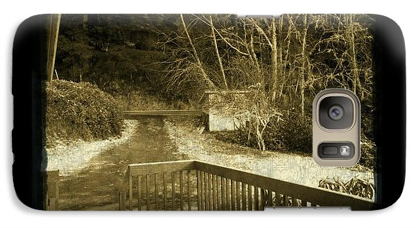 Galaxy Case featuring the photograph Sepia - Country Road First Snow by Absinthe Art By Michelle LeAnn Scott