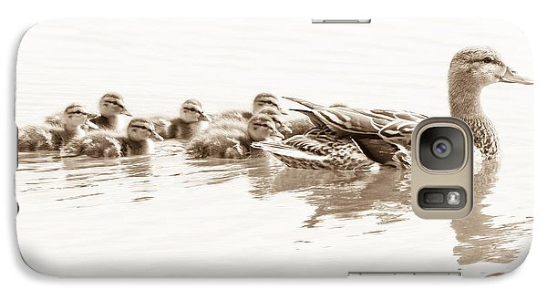 Galaxy Case featuring the photograph Sepia Mallard Family by Anita Oakley