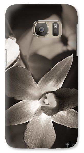 Galaxy Case featuring the photograph Sepia Orchid by Ellen Cotton