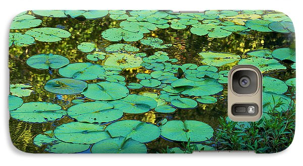 Galaxy Case featuring the photograph Serenity Found - Green Lotus Leaves In Blue Water by Jane Eleanor Nicholas