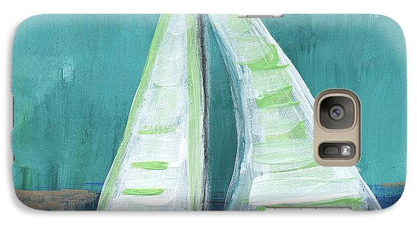 Set Free- Sailboat Painting Galaxy S7 Case by Linda Woods